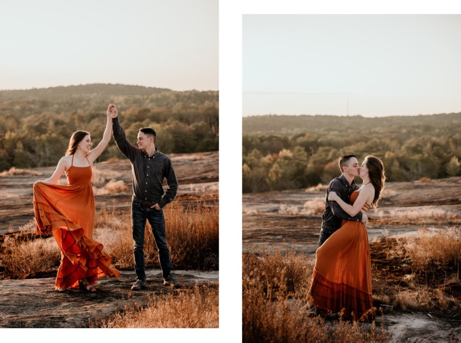 couple engagement session at Arabia Mountain