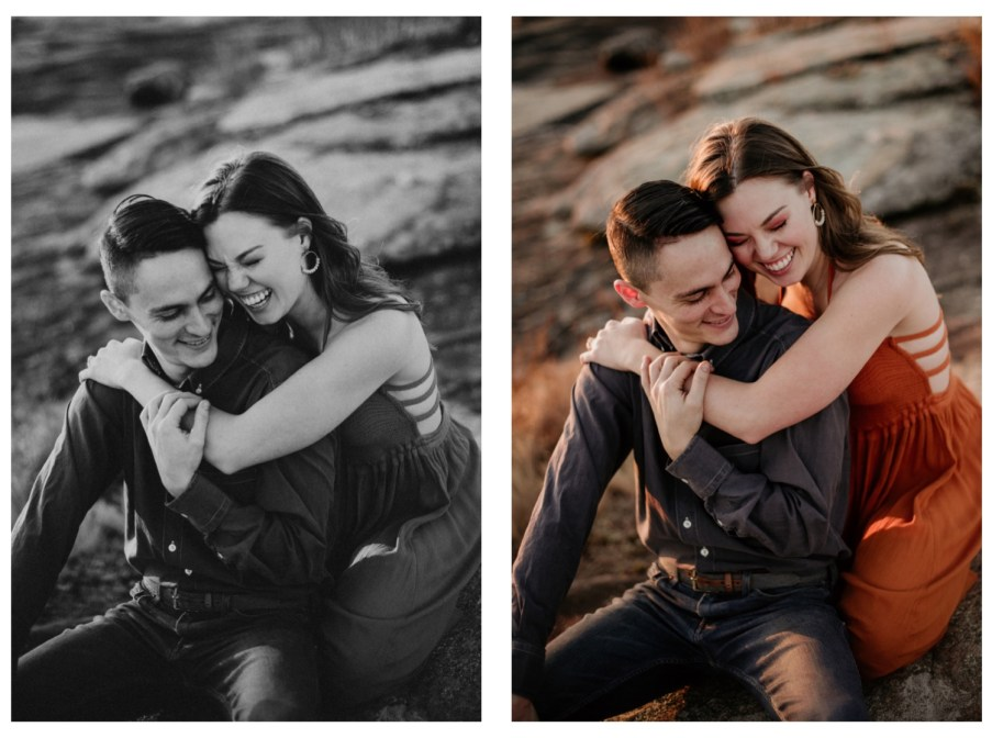couple laughing and hugging at their engagement shoot