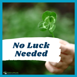 "Graphic of a four leaf clover with the words ""no luck needed"" across it. This phrasing illustrates the necessity of online therapy in Colorado to help people access counseling from afar. 
