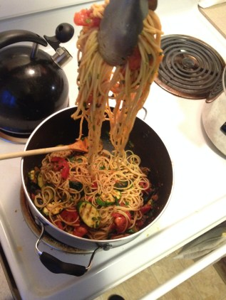 Grilled summer vegetables spaghetti.
