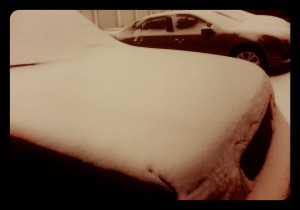 Snow covered cars in Iowa on January 18, 2014