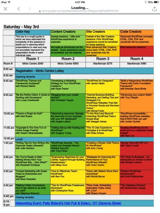 WordCamp Ottawa schedule