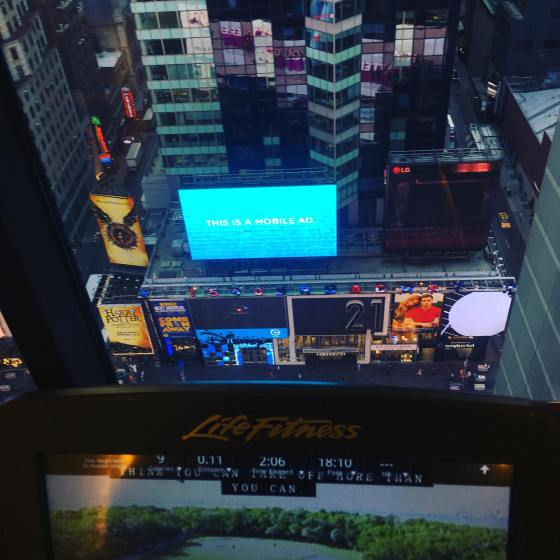 View from hotel gym at Times Square