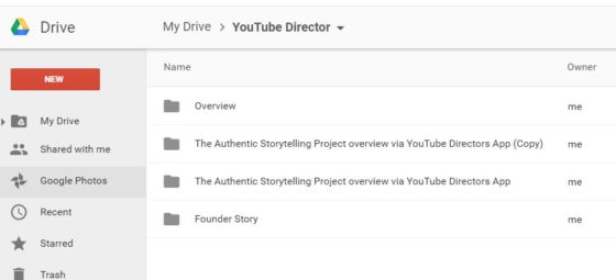 YouTube director saves to Google Drive
