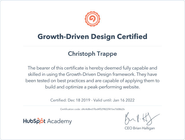 growth driven design certification
