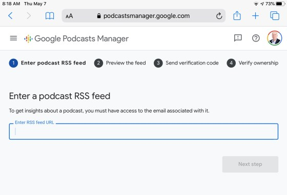 Google Podcast Manager - enter feed