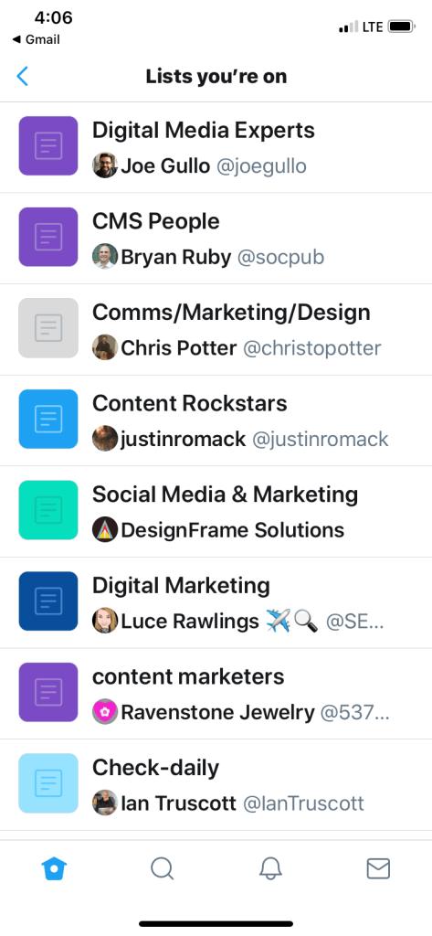 Twitter lists I am on
