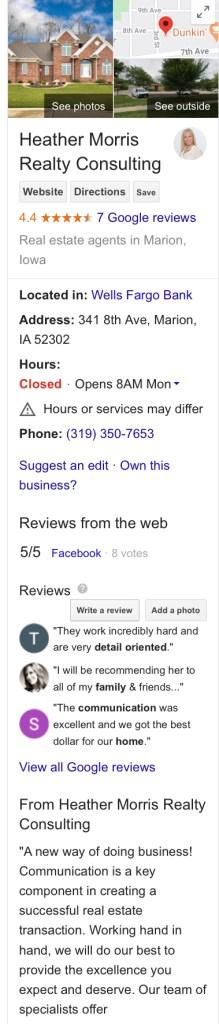 Local SEO Google My Business Panel