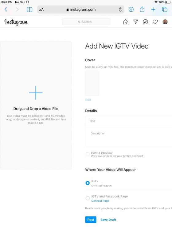IGTV video upload on Safari