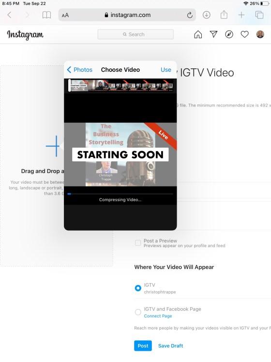 IGTV video uploads on Safari