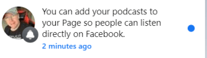 Facebook podcast notification