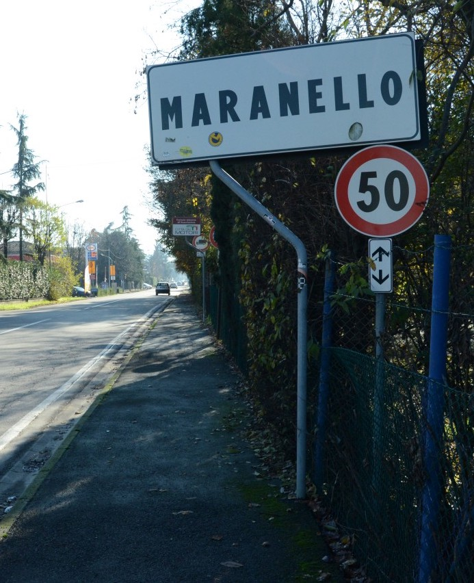 Signboards welcoming into Maranello, Mecca of F1 cars