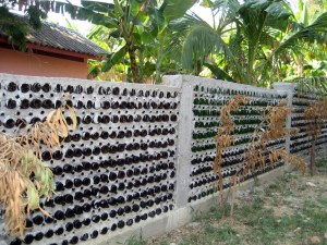 School walls with bottles