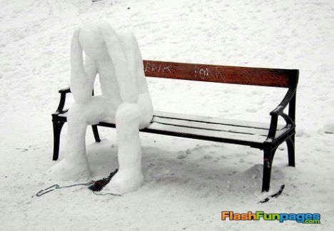 funny-snowman-park-bench