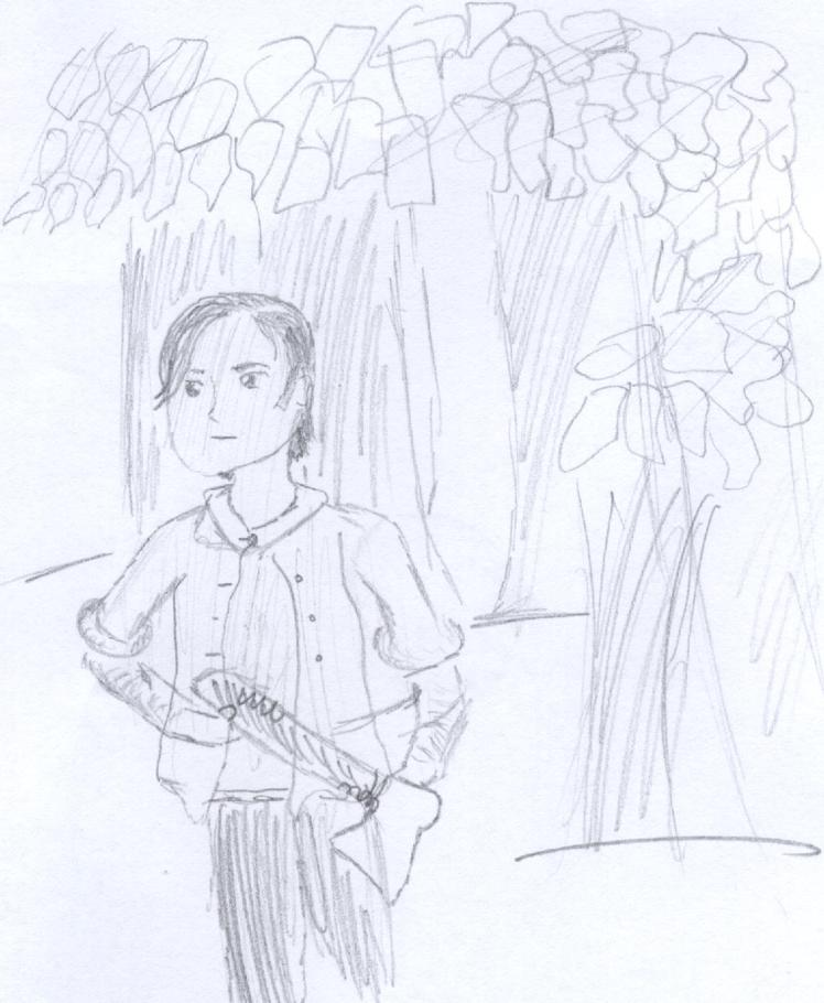 "Middle grader's drawing of Wilson Rawls's ""Where the Red Fern Grows"" © Author Adventures"