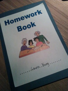 Laura's school homework book