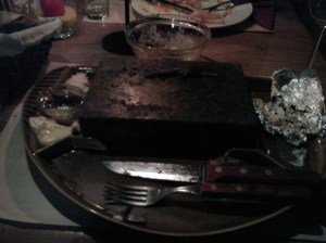 The hot stone on which I cooked my steak