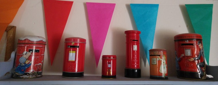 Photo of my collection of post box money boxes