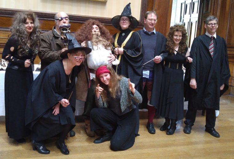 teachers in Harry Potter costume
