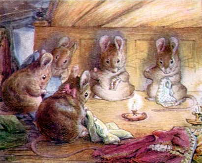 Image of mice sitting round sewing by candlelight