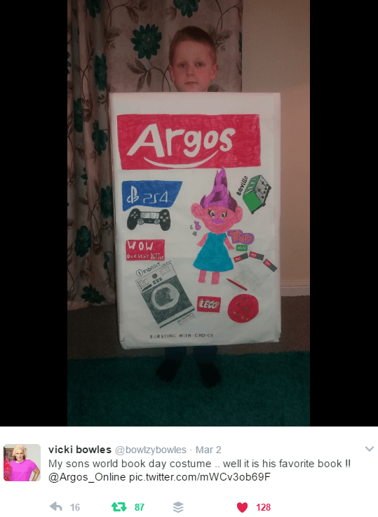 Screenshot of tweeted pic of boy as Argos catalogue