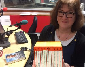 Photo of Debbie with box set of Sherlock Holmes