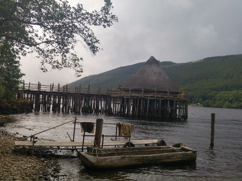 Photo of Scottish Crannog - a reconstructed Iron Age hut on stilts over Loch Tay