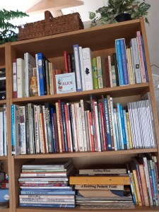 photo of packed bookshelves