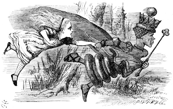 drawing of Alice and the Red Queen running by John Tenniel