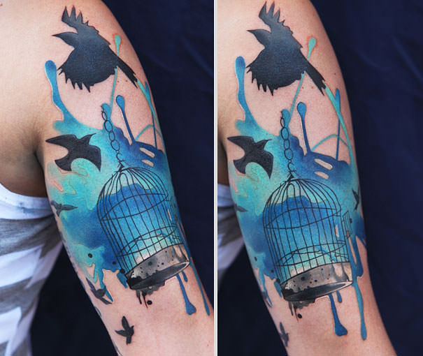 Blue Watercolor Tattoo Background