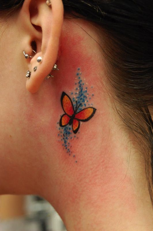 Snowflake Tattoo Behind Ear