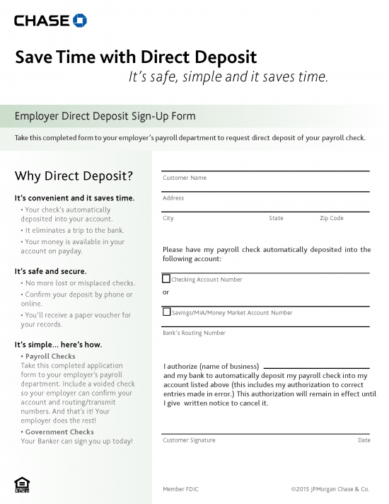 Chase Bank Direct Deposit Authorization Form Authorization Forms