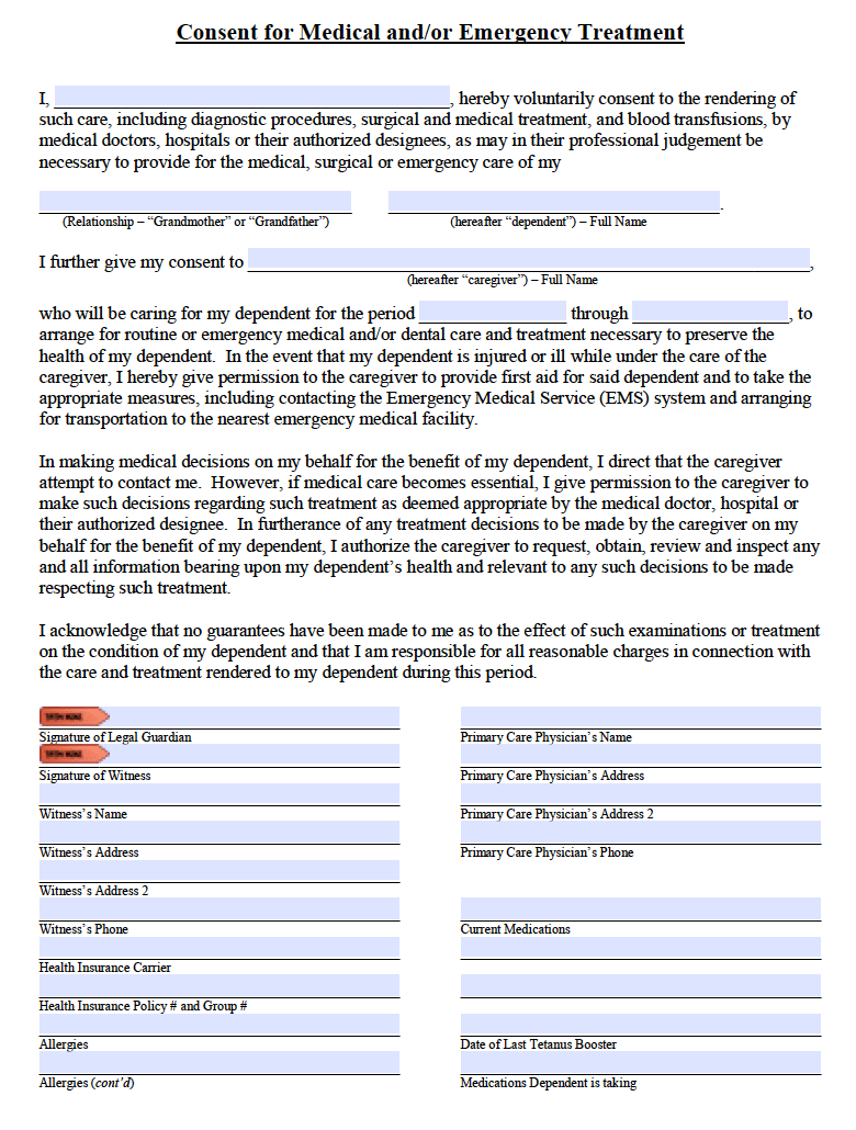 Free Grandparent Medical Consent Form  PDF  Word