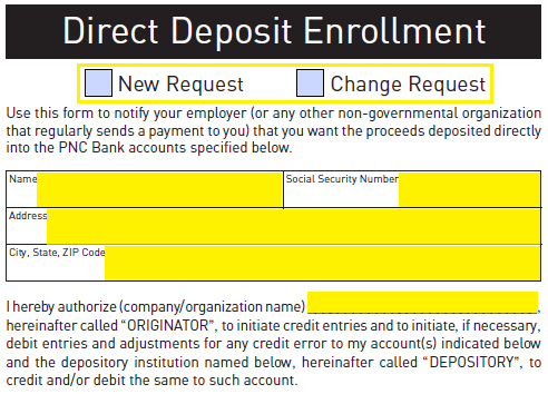 Free PNC Bank Direct Deposit Authorization Form - PDF