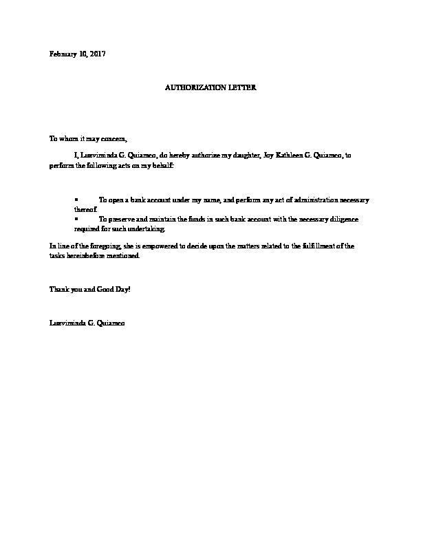 Authorization Letter For Bank Account Opening Authorization Letter