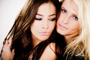 closeup portrait of two beautiful women
