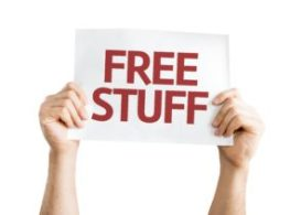 card saying free stuff held by hands