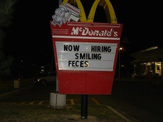 smiling faces typo McDonald's