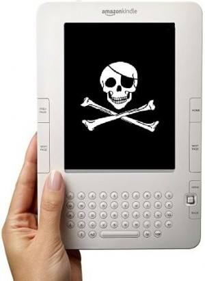 Kindle ereader with pirate flag on screen