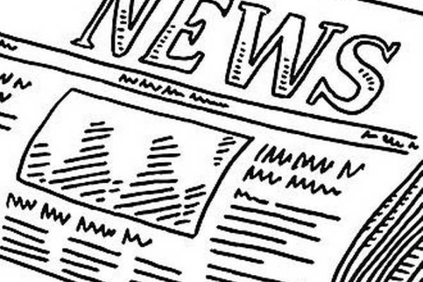 """line drawing of a folded newspaper entitled """"News"""""""
