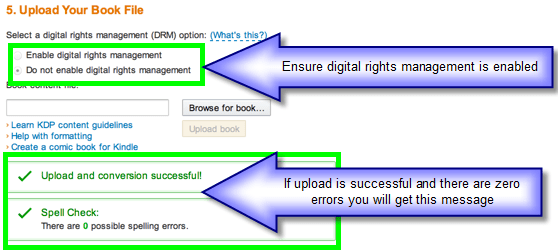 KDP Enable Digital Rights and Conversion Screen