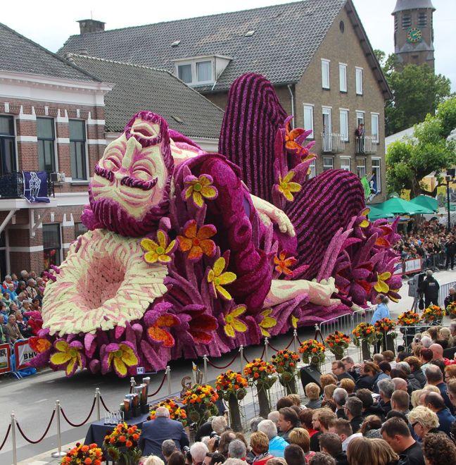 float of vincent van gogh made of purple flowers