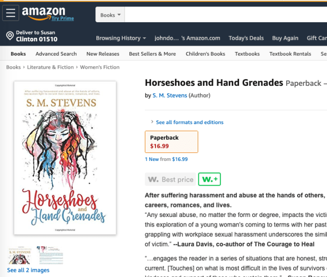 screenshot of amazon listing for horseshoes and hand grenades