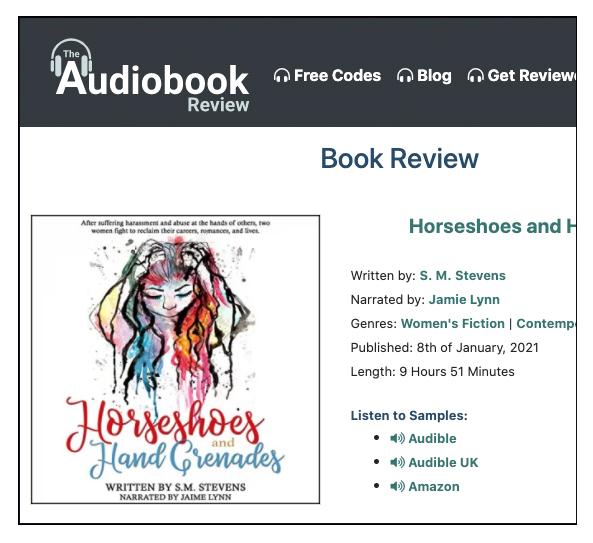 screenshot audiobook review site novel