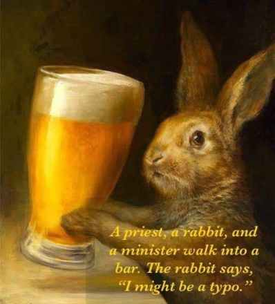 rabbit holding a pint of beer joke meme