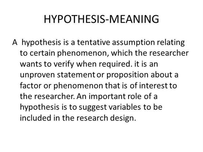 HYPOTHESIS MEANING AuthorSTREAM