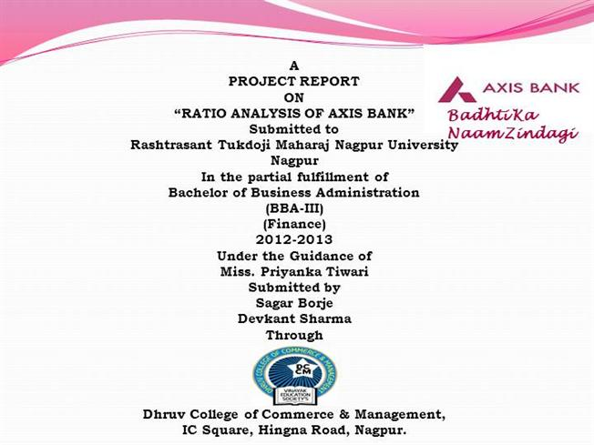 PROJECT REPORT on AXIS BANK PPT. |authorSTREAM