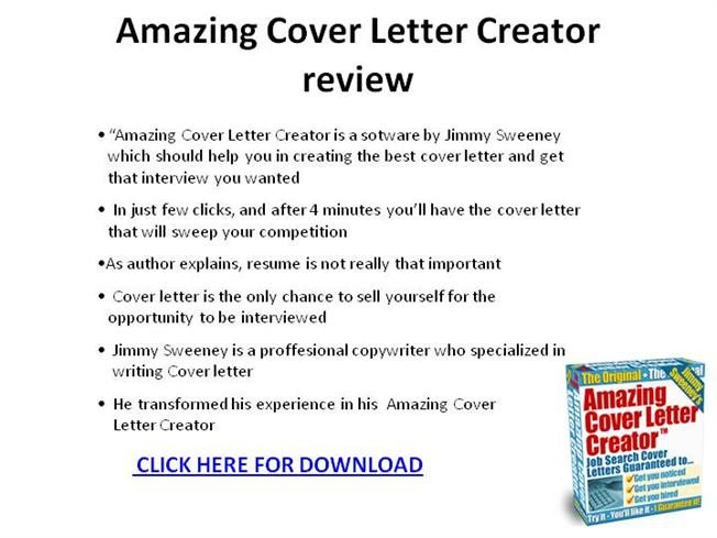 Amazing Cover Letter Creator Review Ppt Presentation