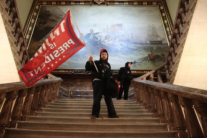 MAGA Trump supporter protester mob storm capitol building