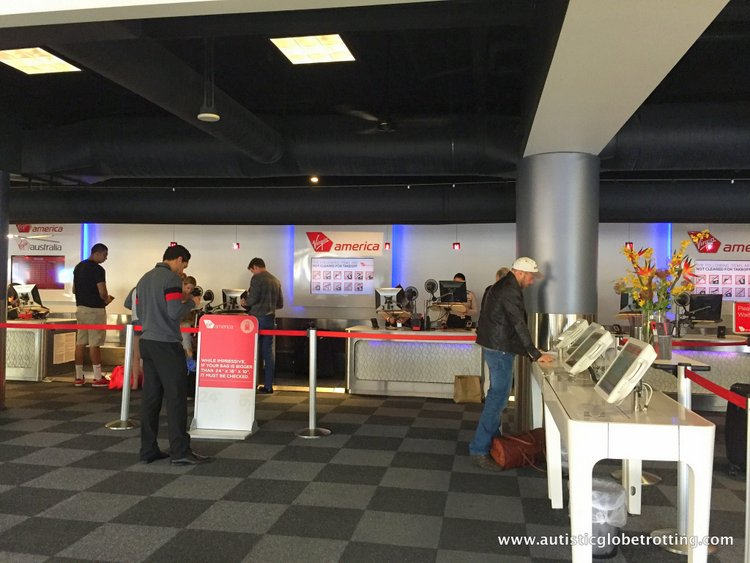 Flying Virgin America with Autism Ticket Counter